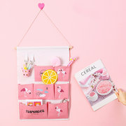 Flamingo Cactus Printing Lively Style Hanging Organizer Cotton Linen Wall Door Storage Home