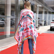 Women Oversize Stain Print Scarf Casual Warm Shawl Windproof Sun Scarf