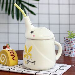 3D Elephant Pattern Design Ceramic Mug Cute Little Elephant Water Cup with Straw for Kids