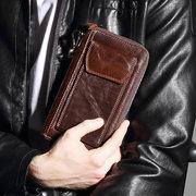 Couro Genuíno 12 embreagem de costura Bolsa do zíper do bolso do telefone dos suportes de cartão para homens