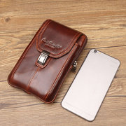Genuine Leather Business Casual 5.2/5.7/6 Inches Phone Bag Waist Bag Crossbody Body For Men