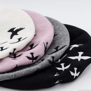 Winter Wool Warm Embroidered Swallows Pattern Beret Hats For Women Casual Travel Knitted Painter Cap