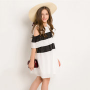 Off Shoulder Girls Striped Loose Casual Dresses For 6Y-15Y