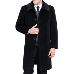 Mens 100% Cashmere Trench Coat Mid-long Business Wool Casual Turn-down Collar Jacket