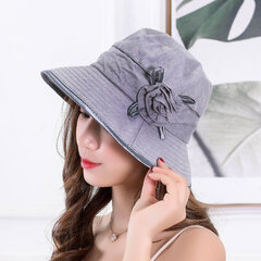 Women Cotton Solid Butterfly Pattern UV Protection Breathable Leisure Elegant Bucket Cap