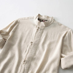 Mens Vintage Pure Color Rolled Sleeve Chinese Buttons Three Quarter Sleeve Linen Shirt