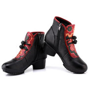 SOCOFY Chinese Bowknot Printing Pattern Block Mid Heel Leather Boots