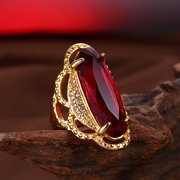 Unisex Luxury Ring Red Gemstone Gold Plated Titanium Stainless Steel Statement Ring for Him Her