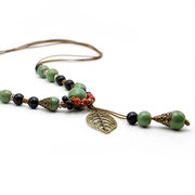 Ethnic Jewelry Ceramic Beads Necklaces Vintage Leaf Drop Charm Necklace for Women