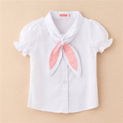 Spring Girls Lantern Sleeve Shirt Bow Tie Tops For 2-9Y