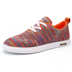 Men Flyknit Mesh Fabric Colorful Soft Breathable Sport Casual Trainers
