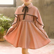 Vintage Girls Patchwork Long Sleeve Party Casual Dress For 4Y-15Y