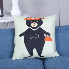 Cartoon Panda Printing Linen Cotton Cushion Cover Soft-touching Pillowcases Home Sofa Office