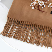 Women Ethnic Style Embroidered Woolen Blending Scarf Shawl Casual Warm Breathable Sunscreen Scarf