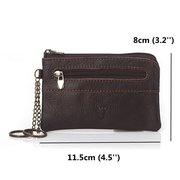 Lightweight Portable Coin Bag Genuine Leather Short Zipper Wallet For Men