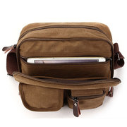 Ekphero Multifunction Versatile Genuine Leather Canvas Messenger Bag Ipad Crossbody Bag