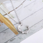 Elegant Pendant Necklaces S925 Sterling Silver Irregular Crystal Open Moon Charm Necklace for Women