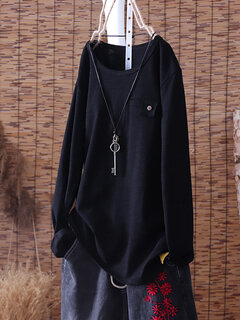 Basic Round Neck Long Sleeve Solid Color Pullover T-Shirt
