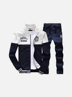 Mens Sport Suits Patchwork Embroidery Baseball Sweatshirt Elastic Waist Joggers Sport Pants