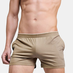 Mens Sexy Solid Color Cotton Boxer Shorts Comfortable Thin Breathable Home Casual Arrow Pants