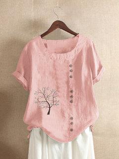Beiläufiges Baum-Druck Plus Größen-T-Shirt für Damen