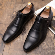 Men Retro Color Leather Cap Toe Non Slip Casual Formal Dress Shoes