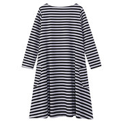 Casual Stripe Loose O-neck Dress For Mother And Kids Girl