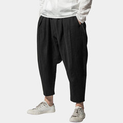 Mens Baggy National Style Cotton Brief pure Color Breathable Loose Elastic Waist Casual Harem Pants