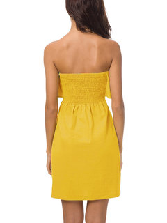 Pure Color Lotus Leaf Wrapped Chest Stitching Bow Dresses