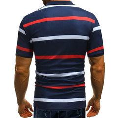 رجال الأعمال مخطط المطبوعة قصيرة الأكمام عارضة قميص الغولف القطن