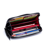 Bifold Women Genuine Leather Long Wallet 12 Card Slot Floral Multifunction Clutch Bag