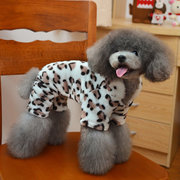 Pet Cloth Hoodie Warm Winter Leopard Flannel Pet Dog Costume Clothes Puppy Coat