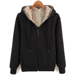 Mens Thicken Fleece Warm Solid Color Zip up Hoodie Jacket