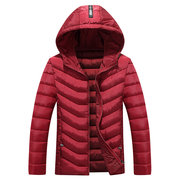 Mens Winter Down Coat Patchwork Waterproof Rib Cuffs Hooded Puffer Jackets