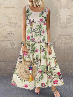 Vintage Floral Print Sleeveless Crew Neck Maxi Dress