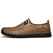 Large Size Men Hand Stitching Leather Splicing Comfy Slip On Shoes