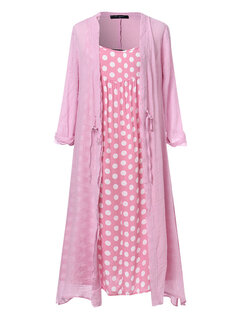 Polka Dot Print Straps Long Sleeve Cardigan Plus Size Two Pieces Dress