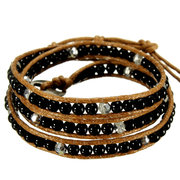 Turquoise Bead Leather Cord Wrap Braided Multilayer Bracelet