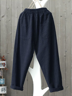 Vintage Solid Color Button Pockets Elastic Waist Plus Size Pants
