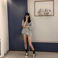 Stagione New Ghost Horse Girl Letter Stampa Backless Loose Thin Oversize T-shirt a maniche corte