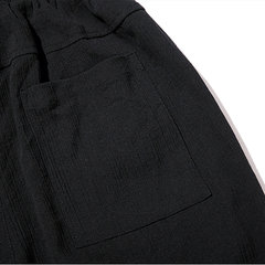 Mens Breathable Cotton Linen Drawstring Solid Color Spring Summer Thin Casual Pants