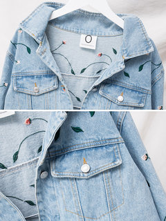 Casual Embroidered Denim Jacket for Women