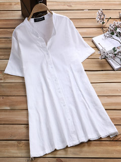 Vintage Solid Color Stand Collar Short Sleeve Shirts