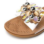 LOSTISY Beaded Decoration Opened Toe Slippers Beach Slide Transparent Sandals