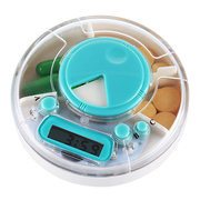 Round Pill Storage Box With Timing Alarm 4 Grid Transparent Jewelry Earrings Boxes