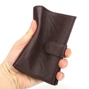 Men Genuine Leather 8 Card Slot Wallet Multi-function Passport Coin Purse