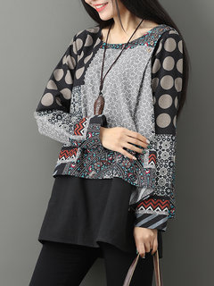 Casual Printed Two-Layer O-Neck Women Blouses
