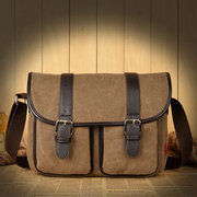 Men Casual Vintage Canvas Crossbody Bag Sport Travel Shoulder Bag