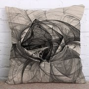 Ink Painting Cotton Linen Cushion Cover Square Decoration Pillowcase