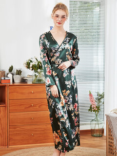 Home Pajamas Floral Silk V Neck Long Soft Robe Sleepwear